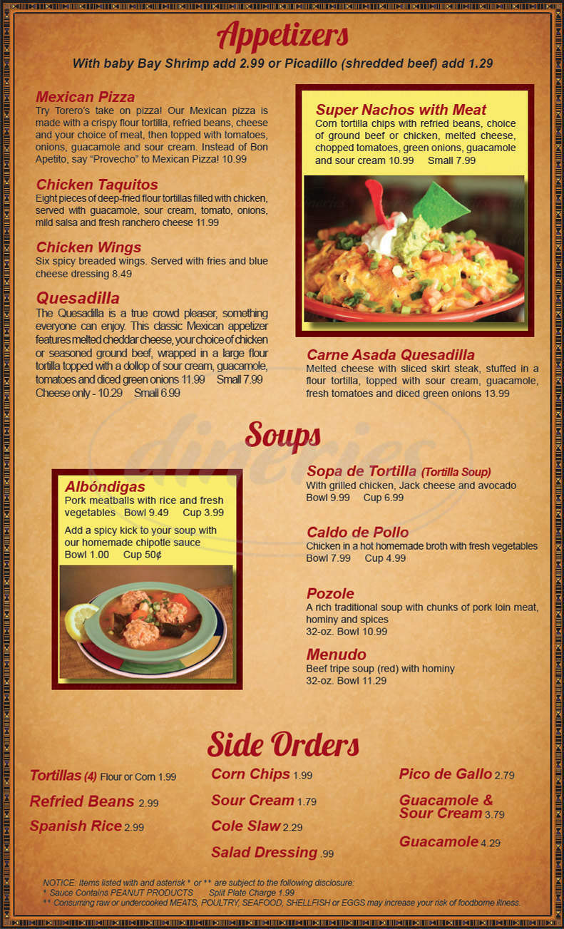 menu for Torero's Mexican Restaurant