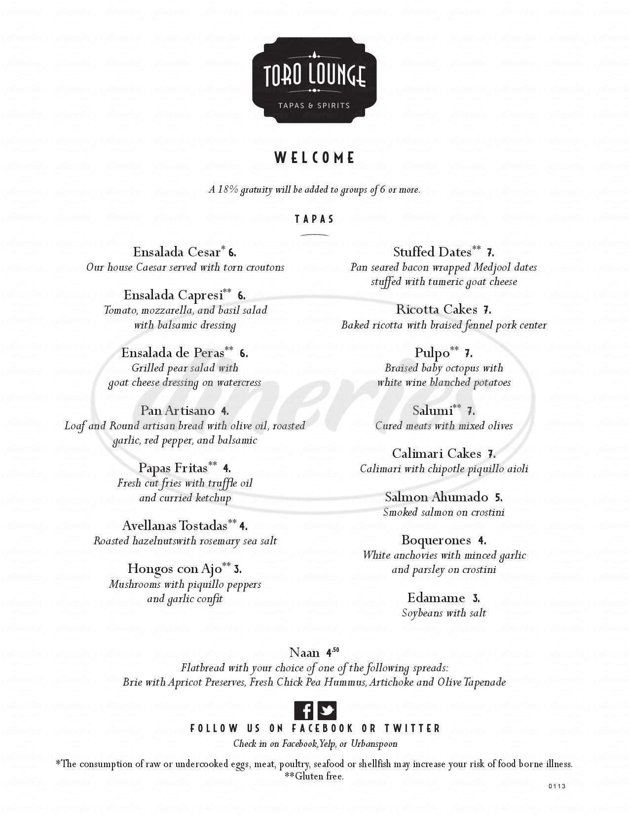 menu for Toro Lounge
