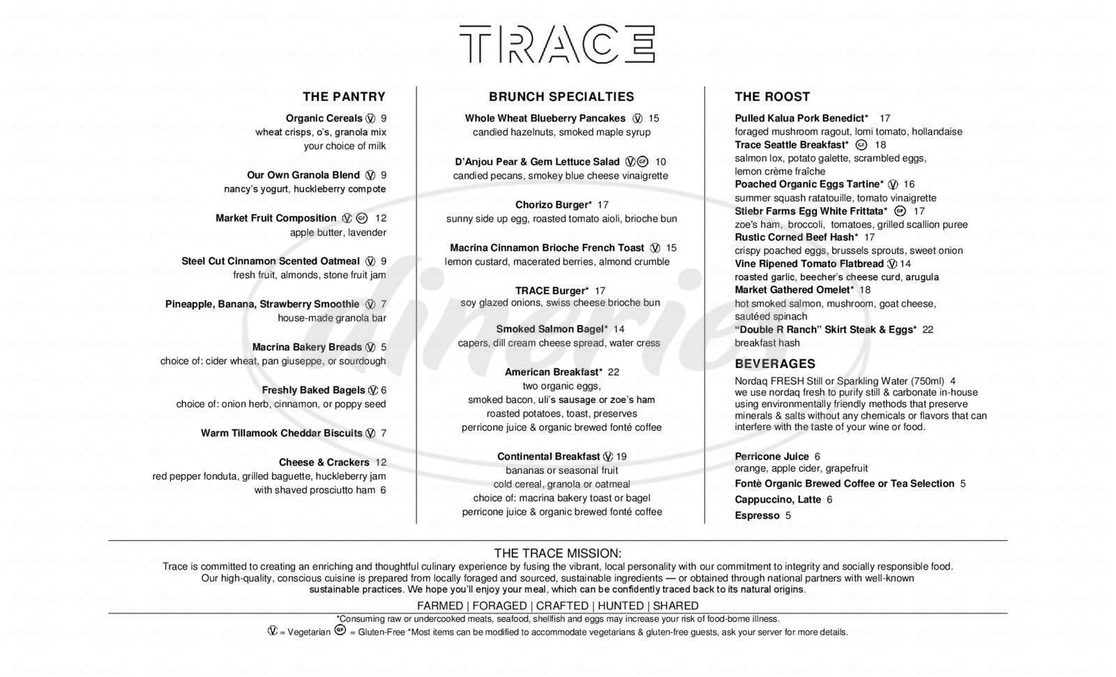 menu for TRACE