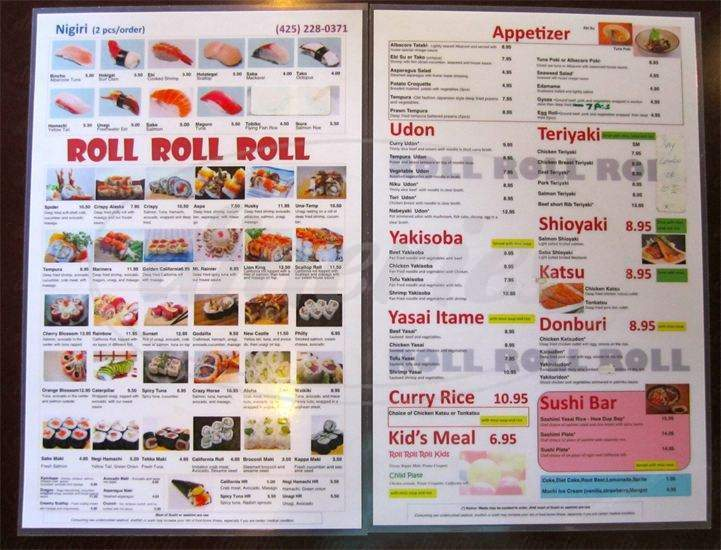 menu for Sushi Roll Roll Roll