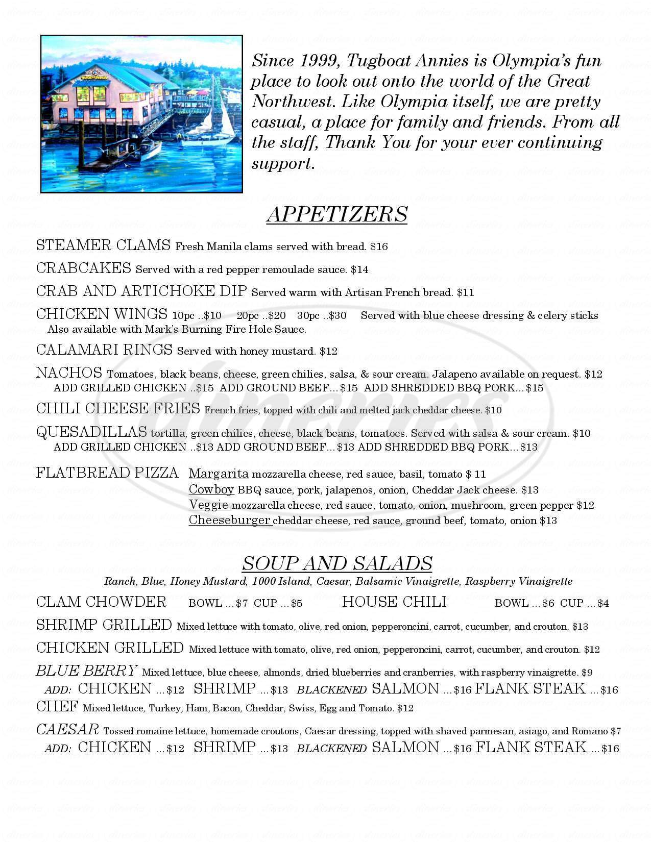 menu for Tugboat Annies