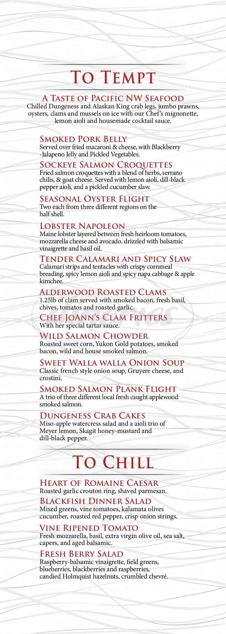 menu for Blackfish