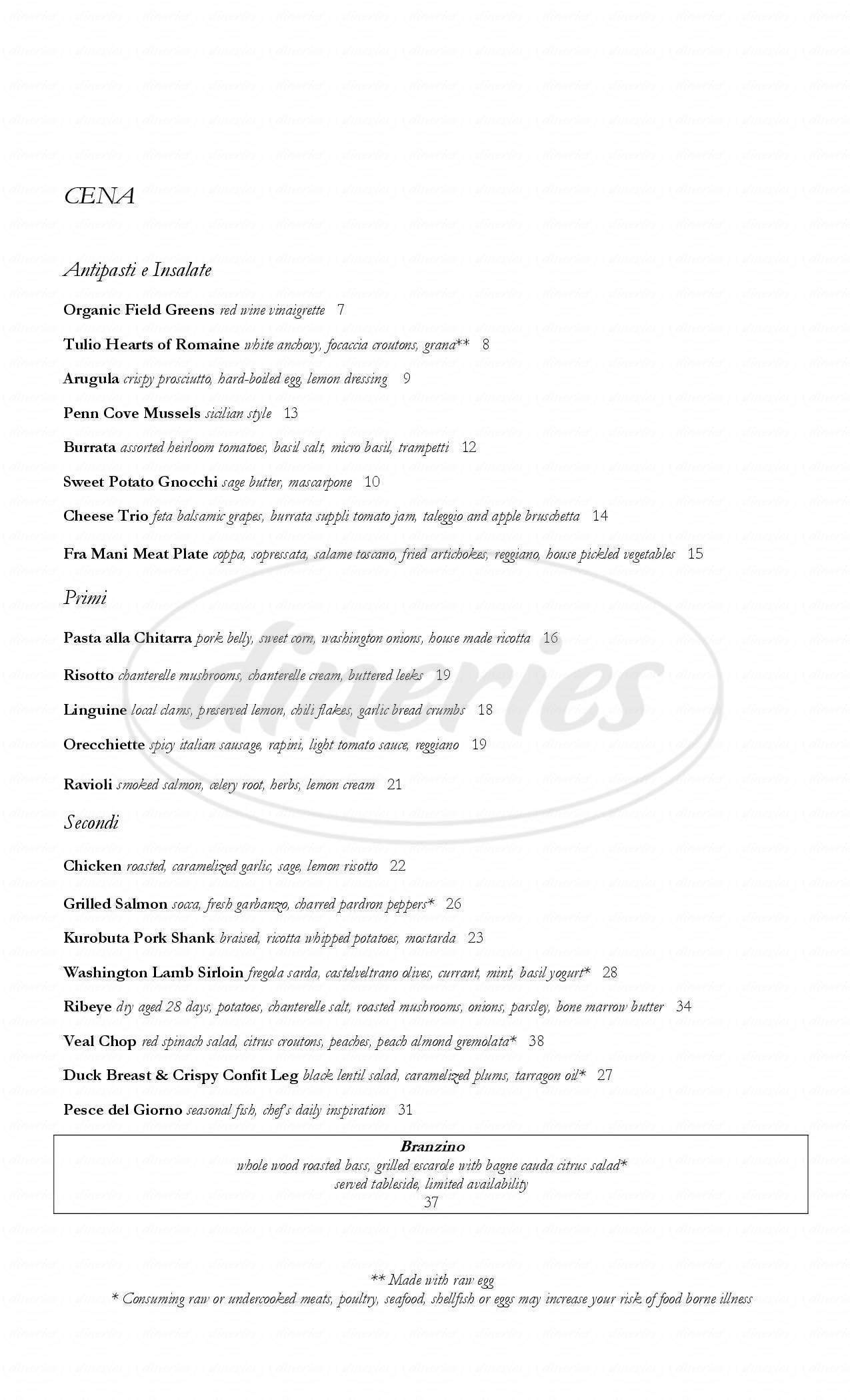 menu for Tulio