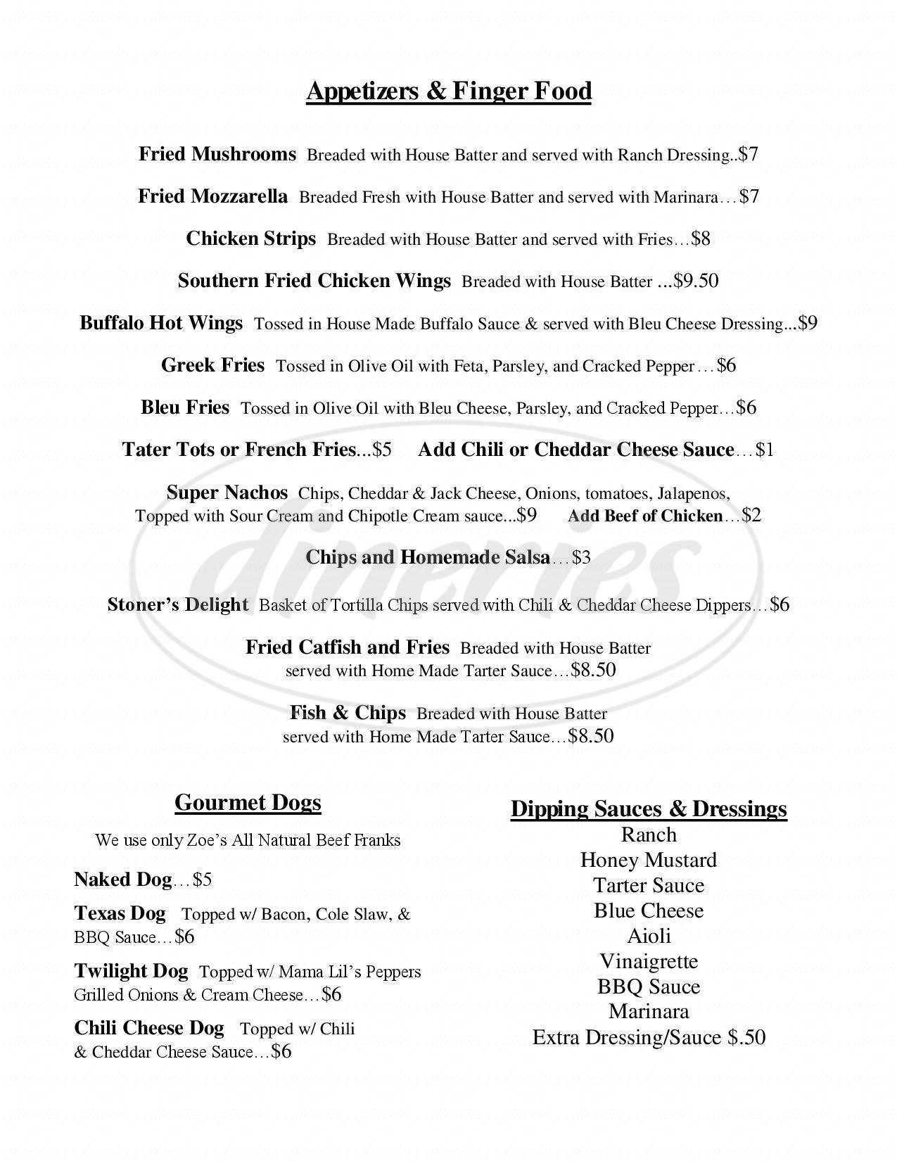 menu for The Twilight Exit