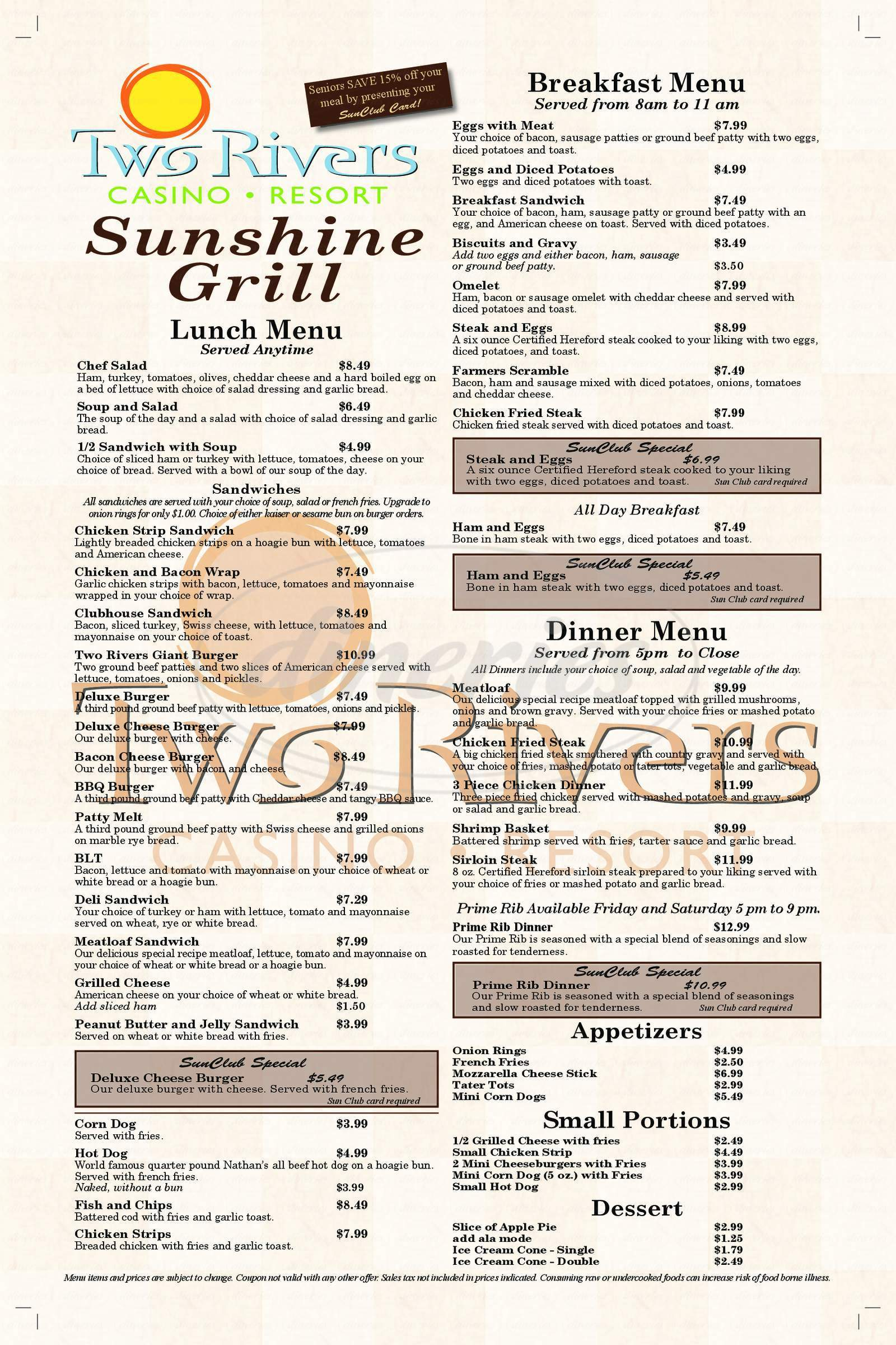 menu for Two Rivers Casino