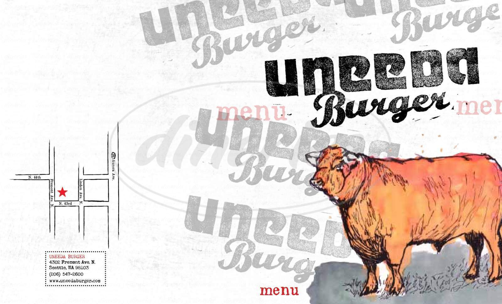 menu for Uneeda Burger
