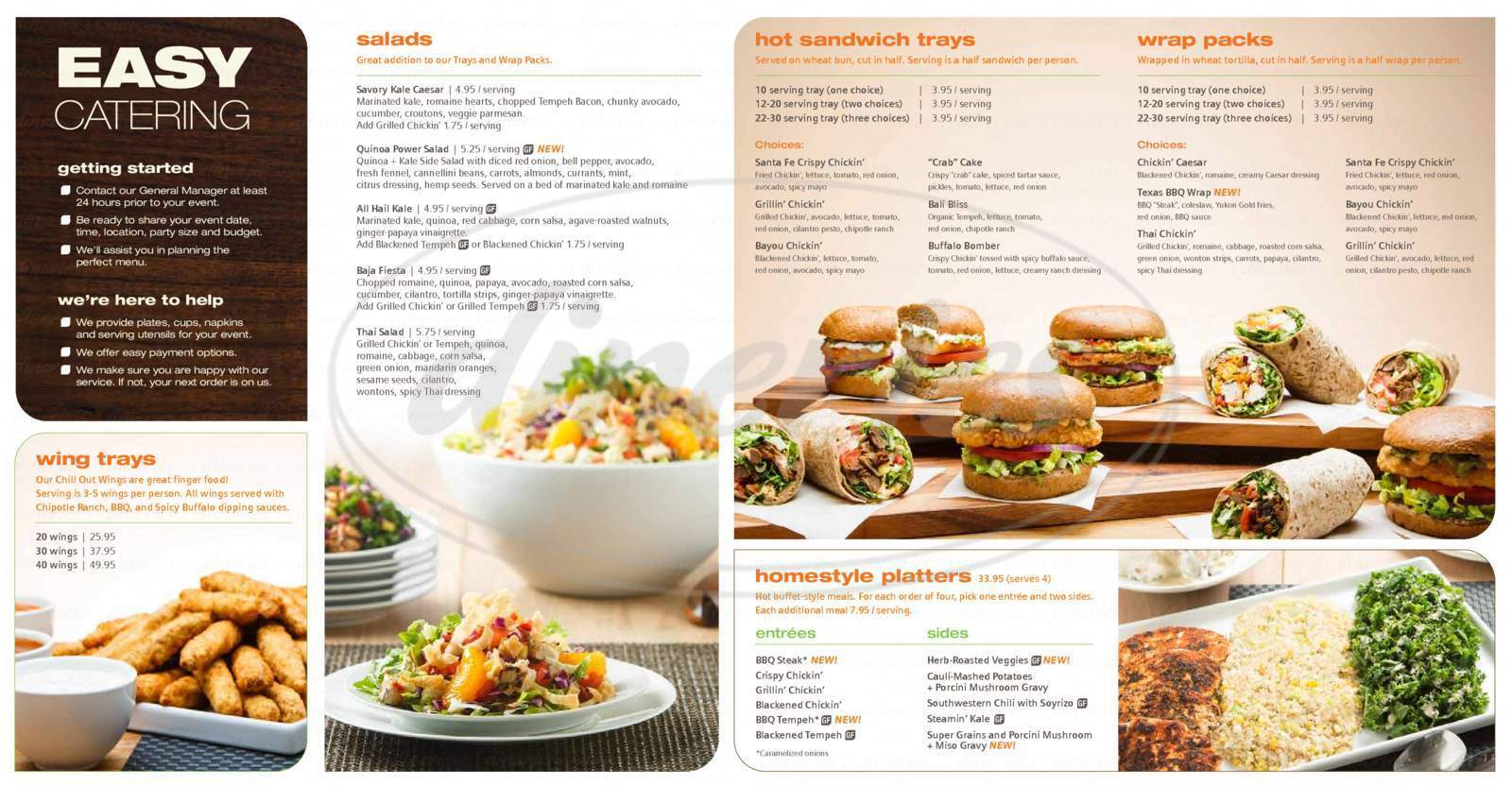 menu for Veggie Grill