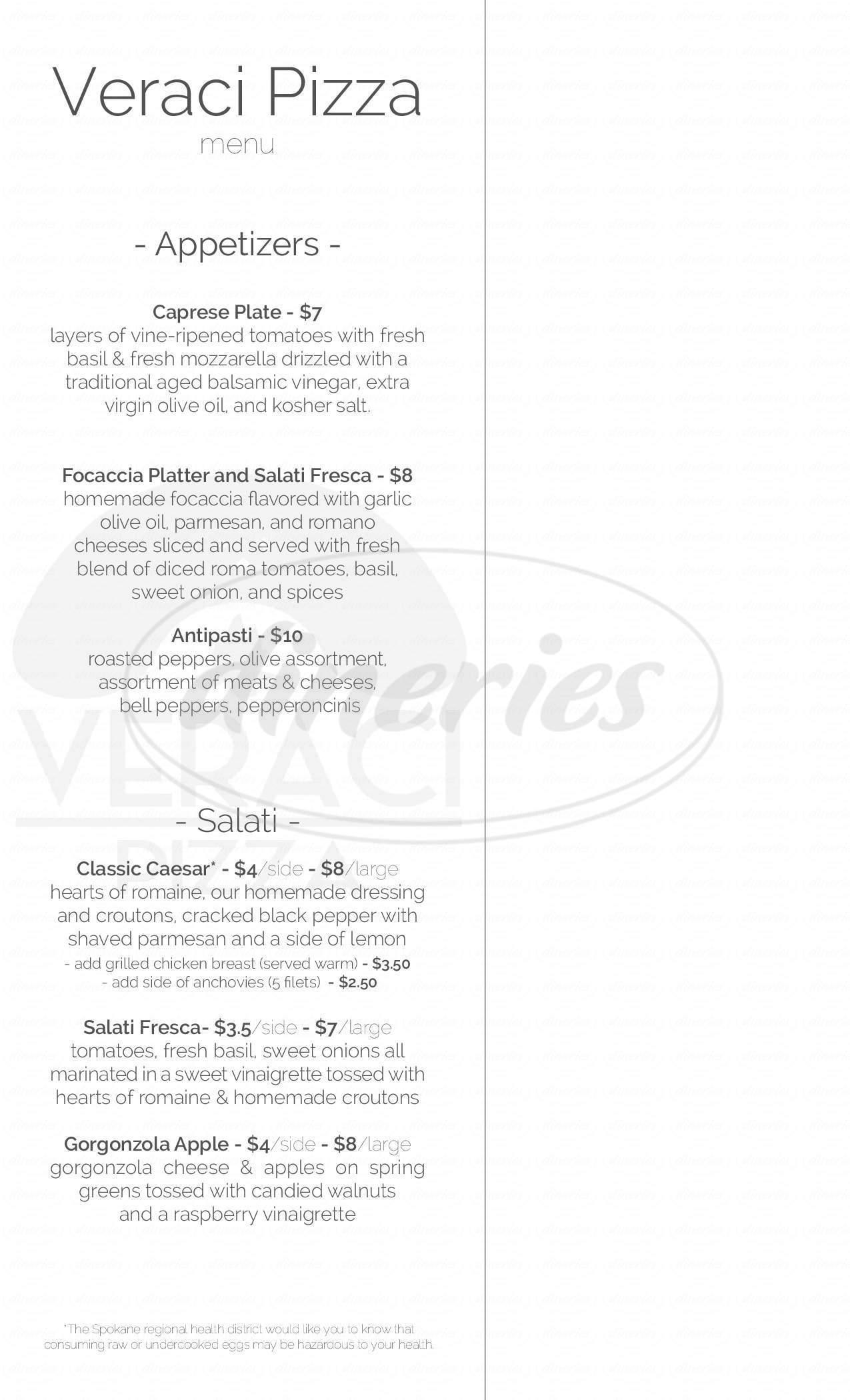 menu for Veraci Pizza
