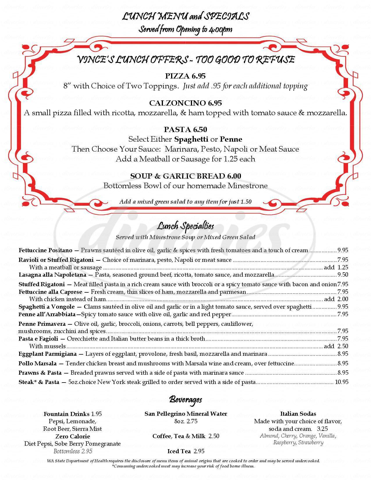 menu for Vince's Italian Restaurant & Pizzeria