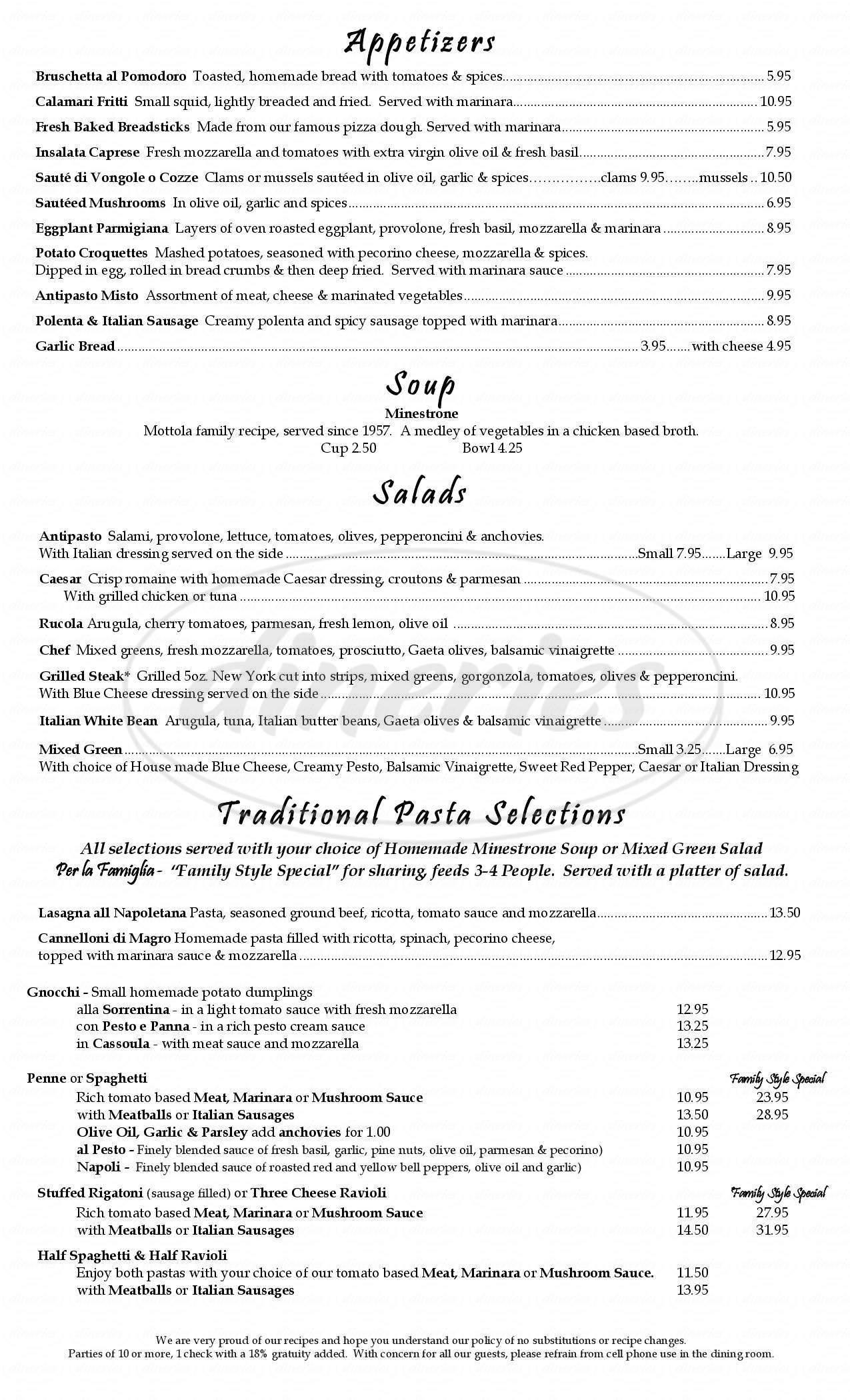 menu for Vince's Italian Restaurant & Pizzeria