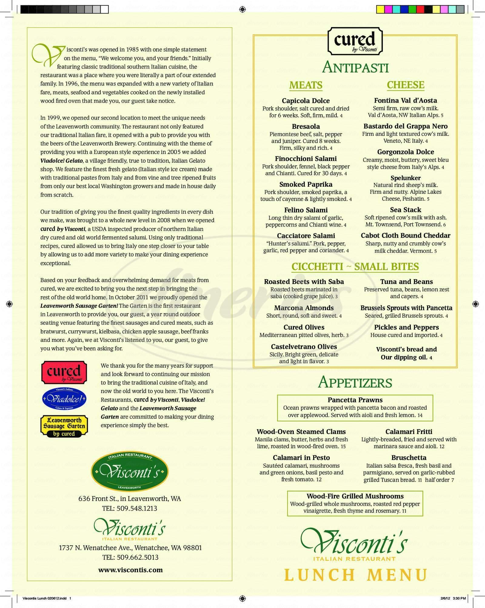 menu for Visconti's Italian Restaurant