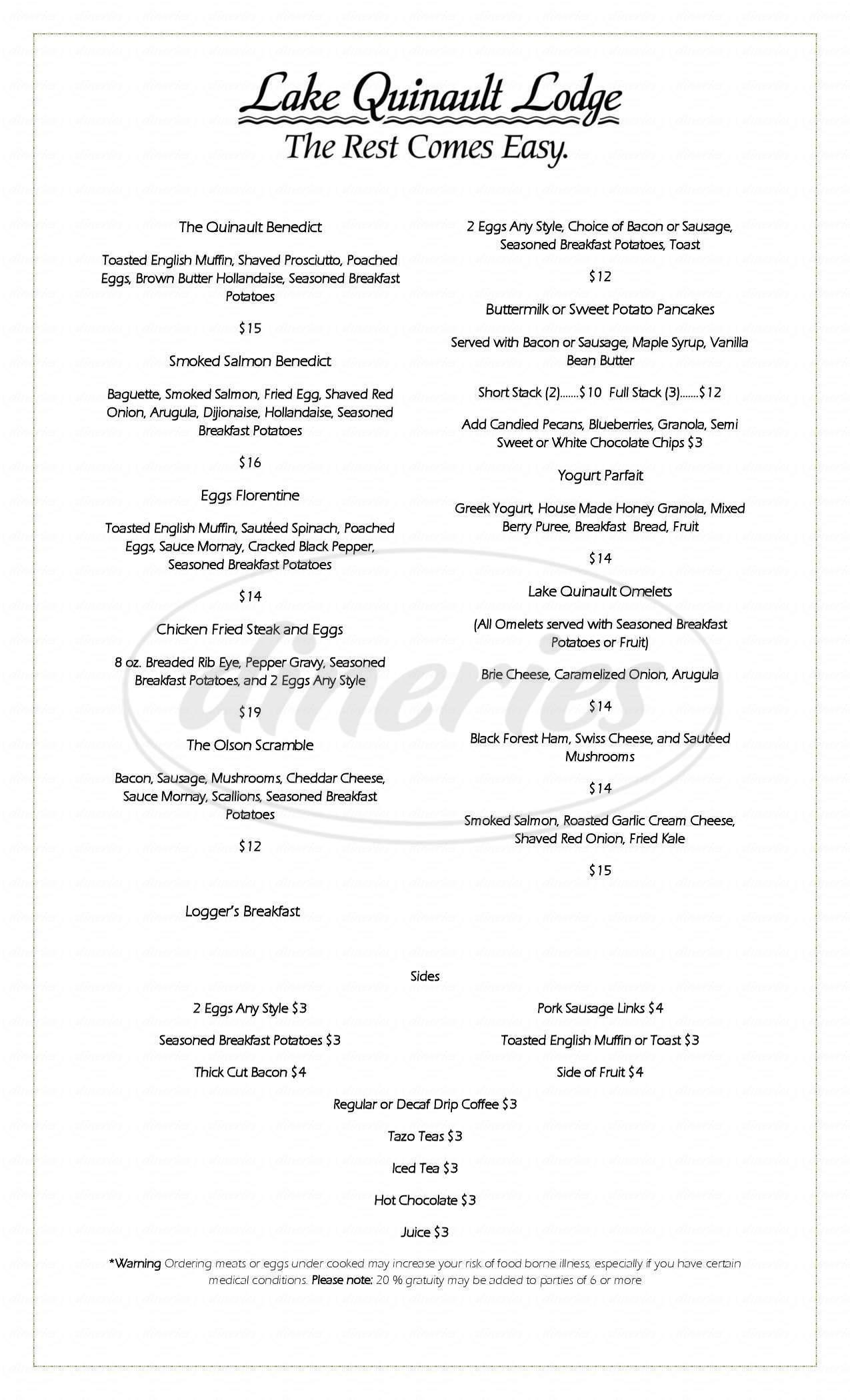 menu for Creekside Restaurant