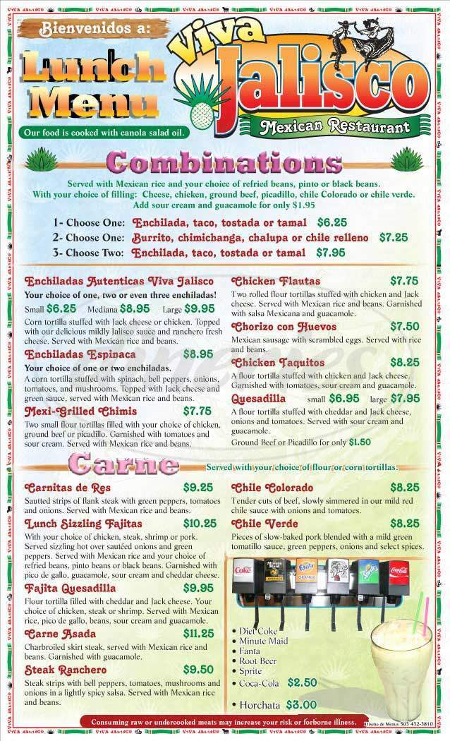 menu for Viva Jalisco Mexican Restaurant