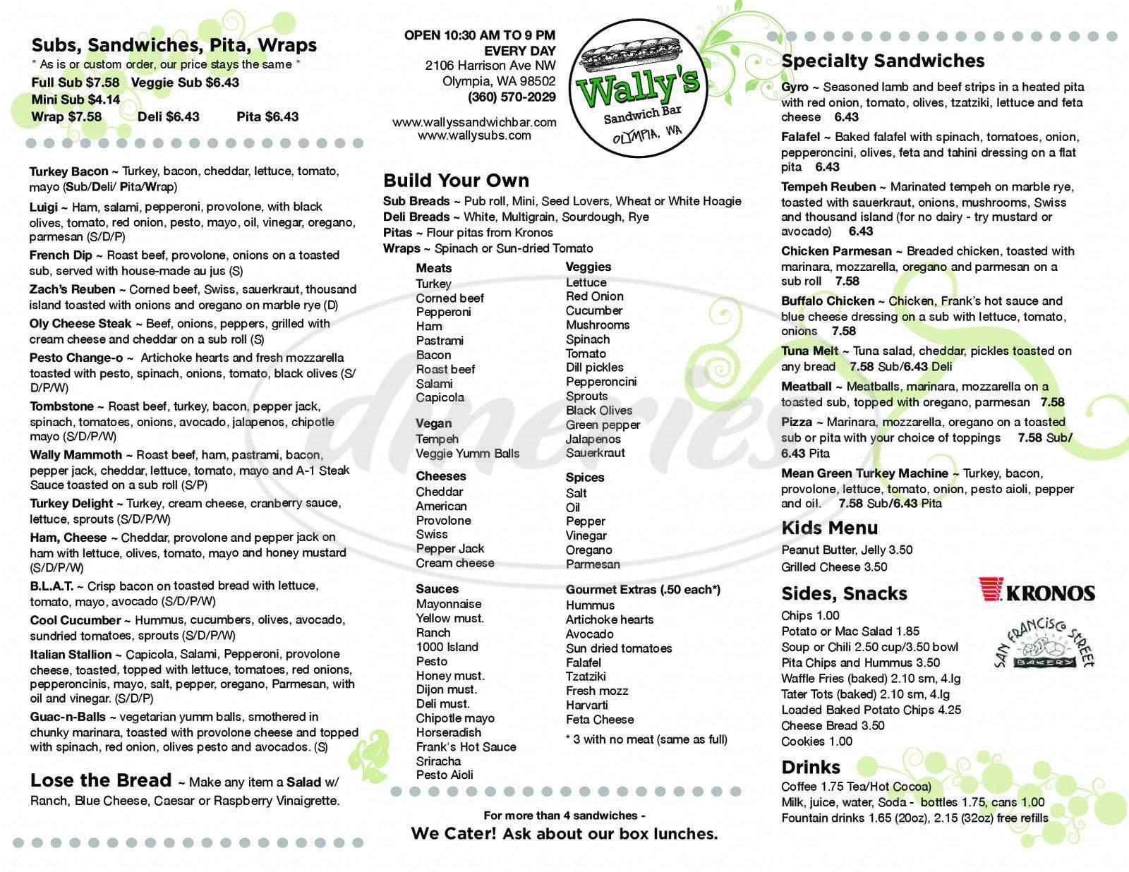 menu for Wally's Sandwich Bar