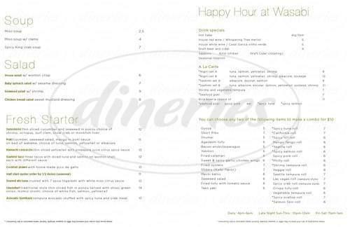menu for Wasabi Bistro Japanese Restaurant & Sushi Bar