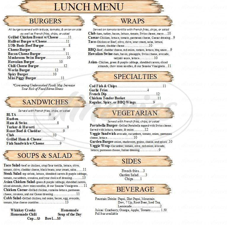menu for Whiskey Creek Steakhouse