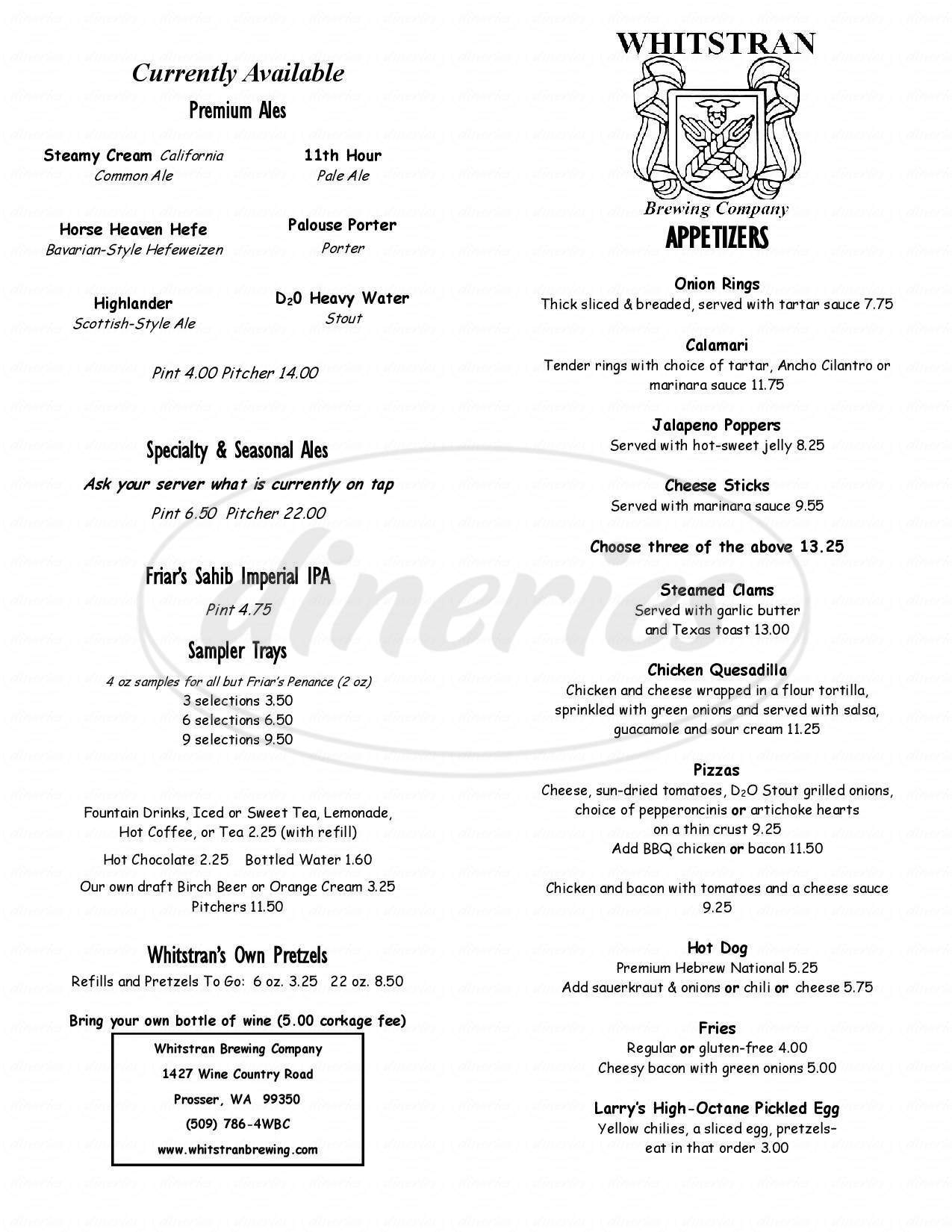 menu for Whitstran Brewing Company