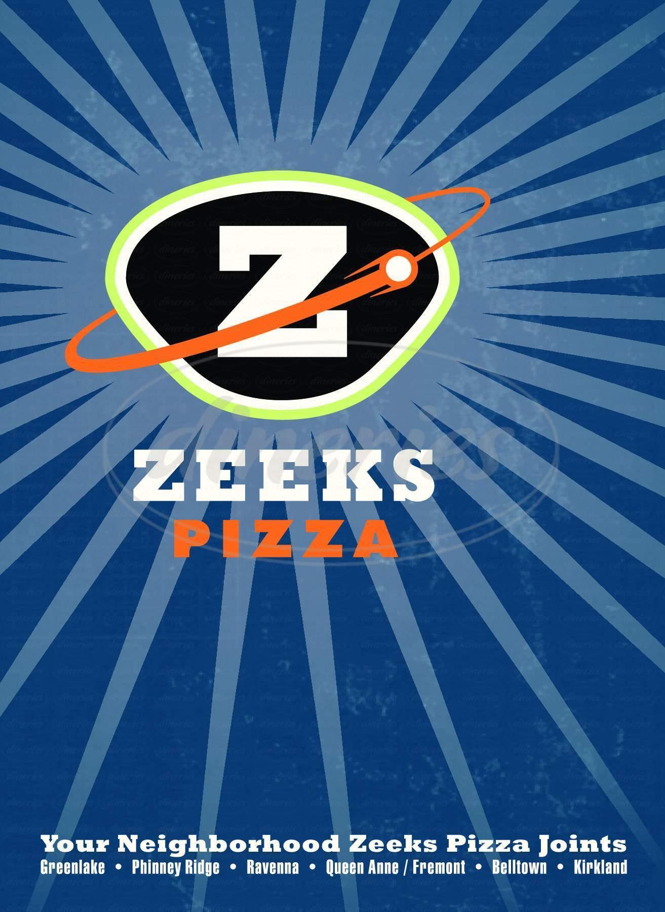 menu for Zeeks Pizza
