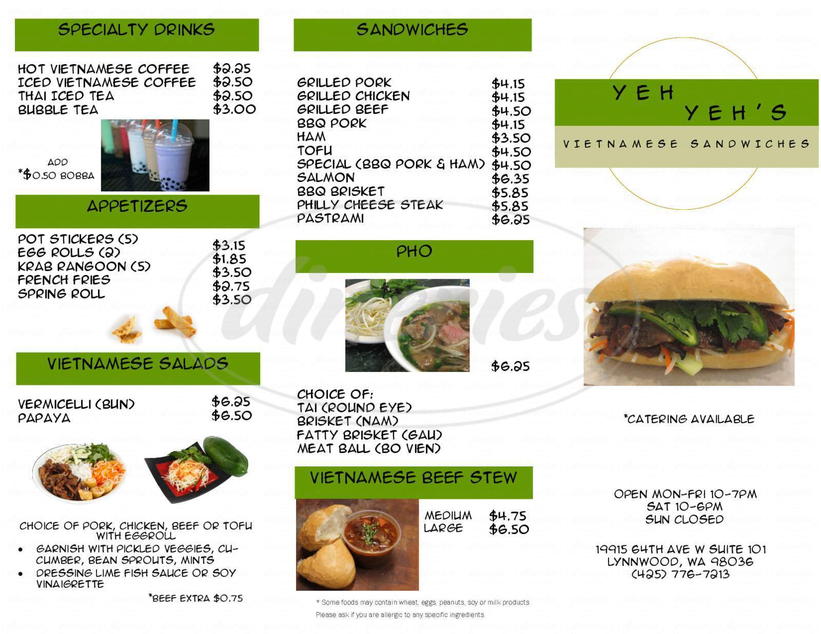 menu for Yeh Yeh's Vietnamese Sandwiches