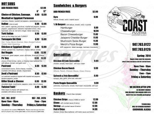 menu for Coast Pizza