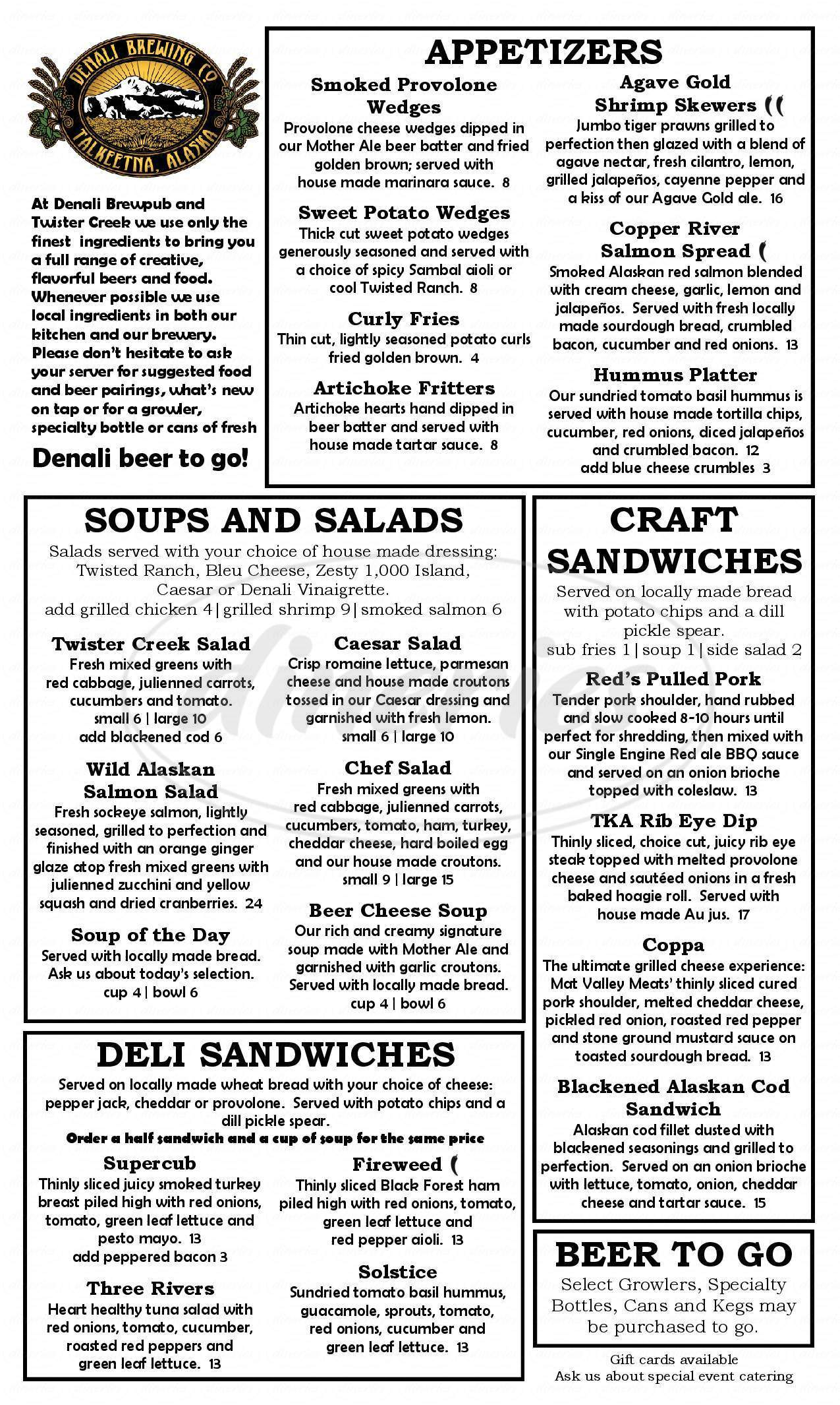 menu for Denali Brewing Company