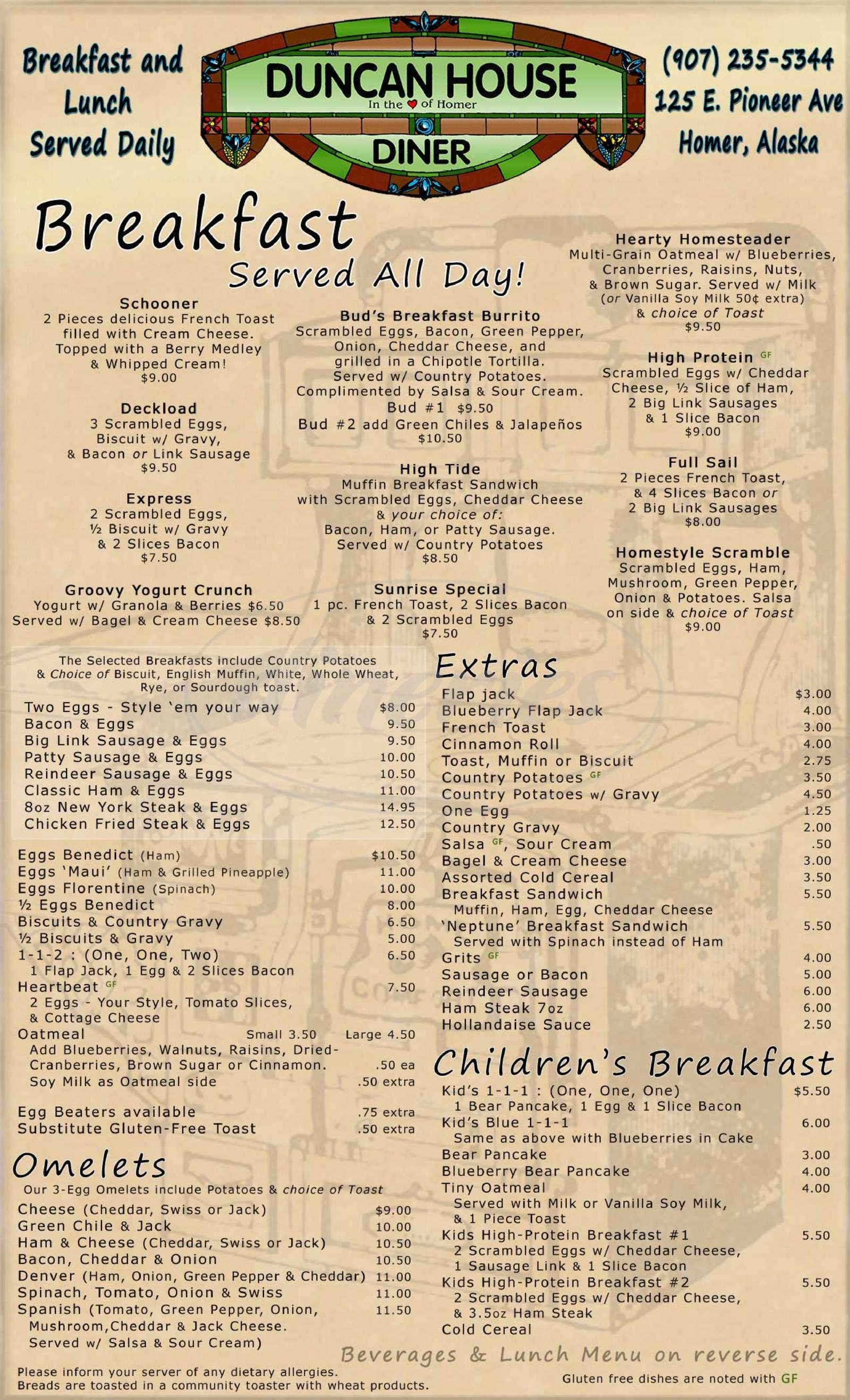 menu for Duncan House Diner