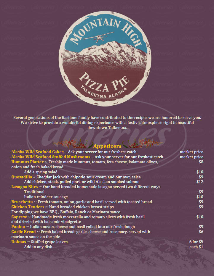 menu for Mountain High Pizza Pie