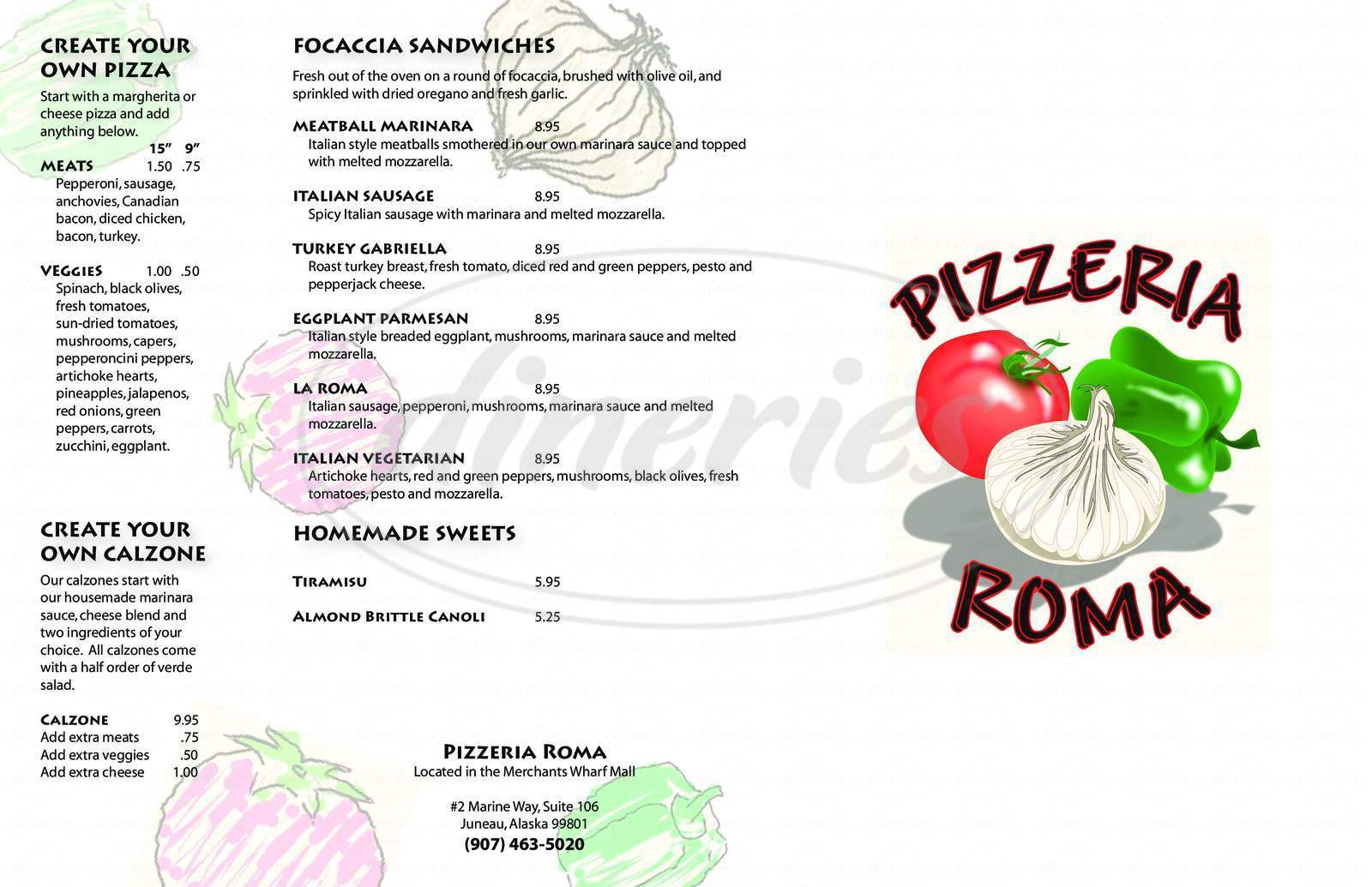 menu for Pizzeria Roma