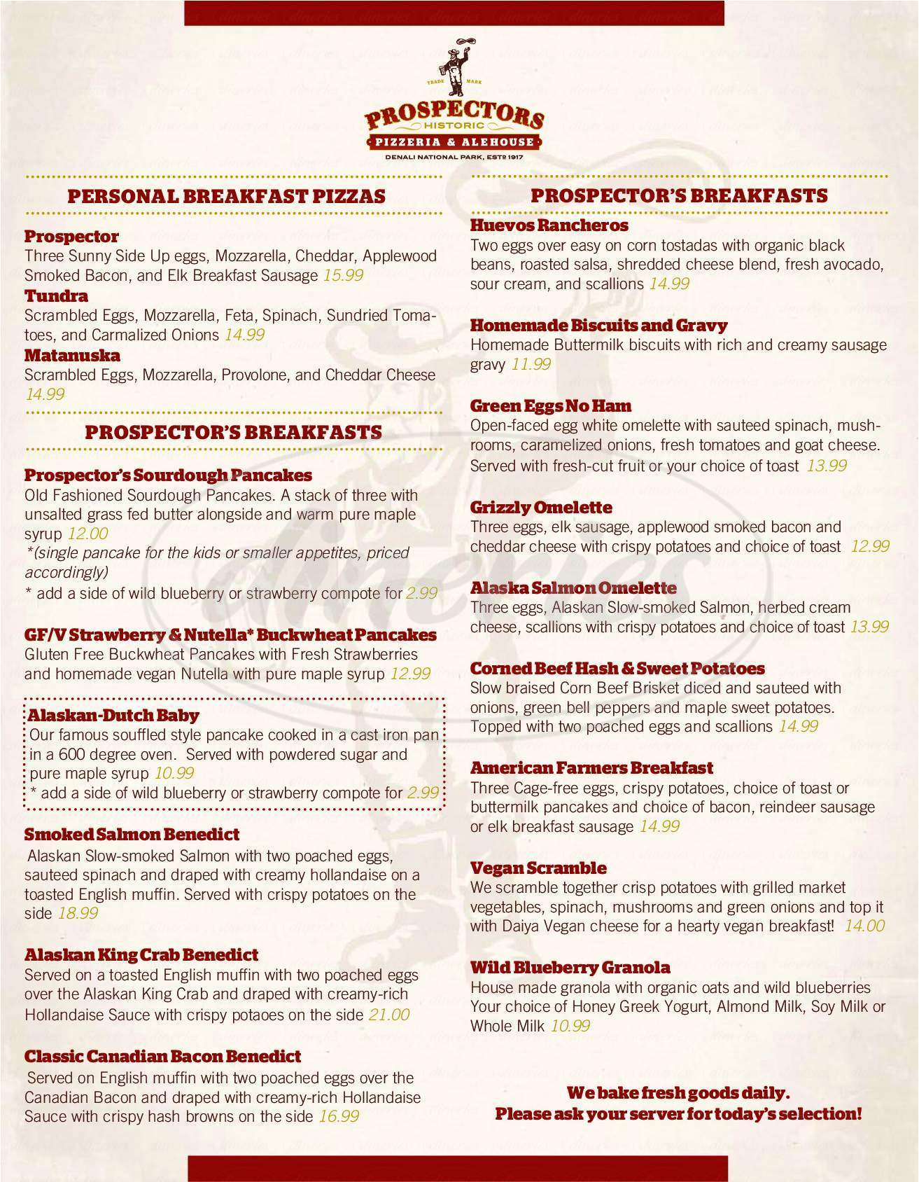 menu for Prospectors Historic  Pizzeria