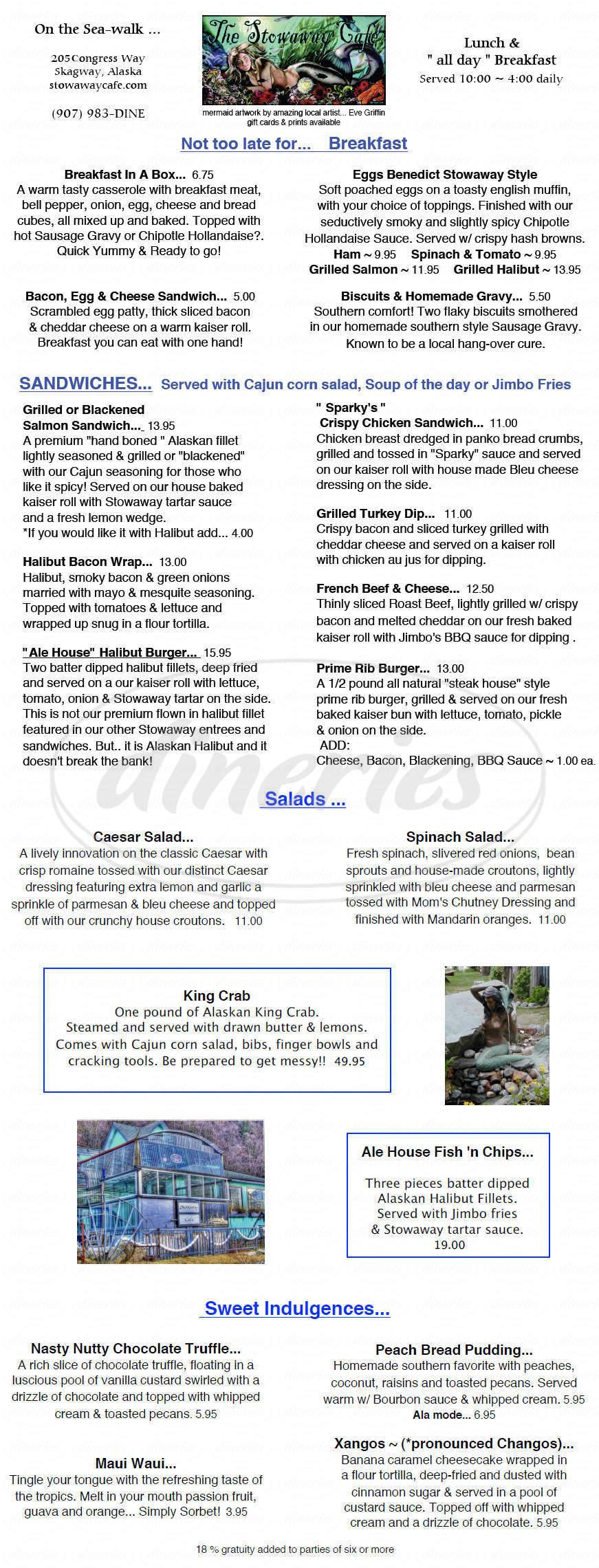 menu for Stowaway Cafe