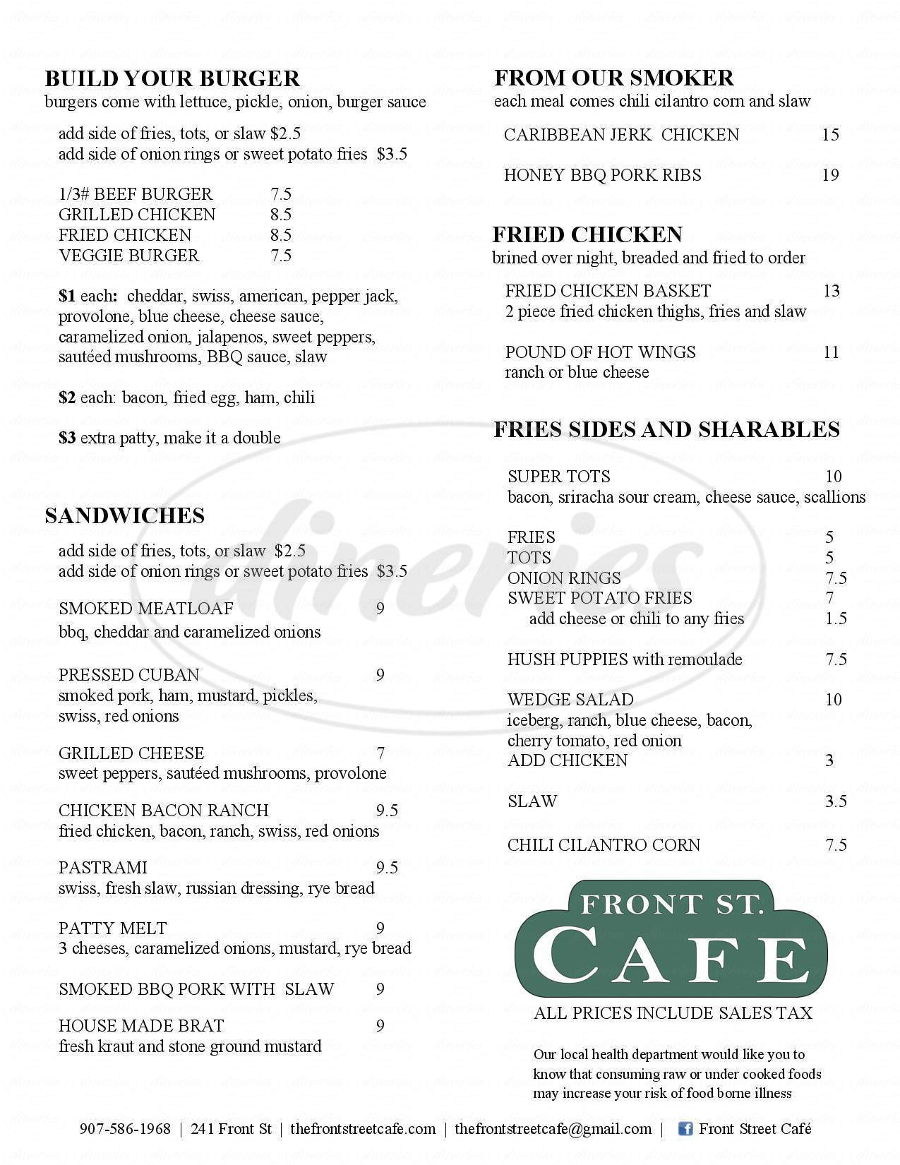 menu for Front Street Cafe