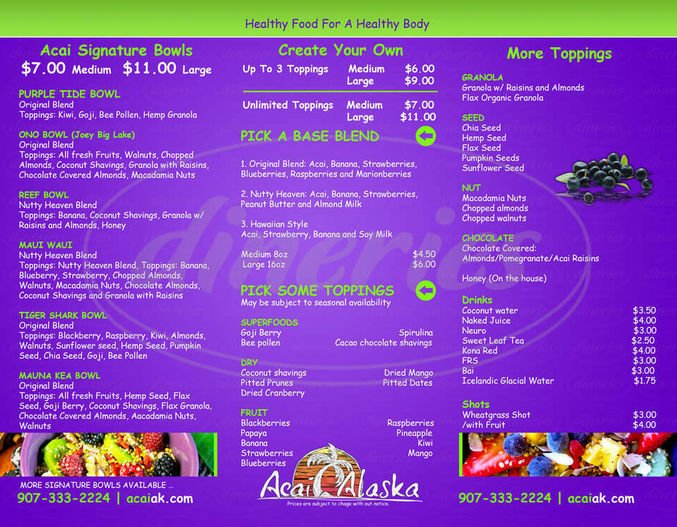 menu for Açaí Alaska