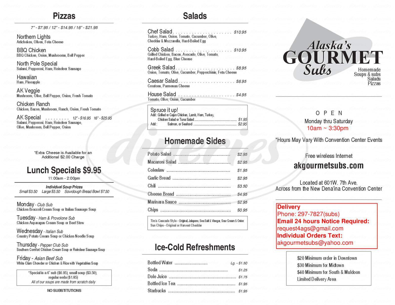 menu for Alaska's Gourmet Subs
