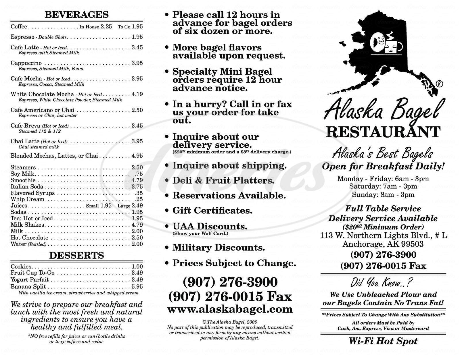 menu for Alaska Bagel Restaurant