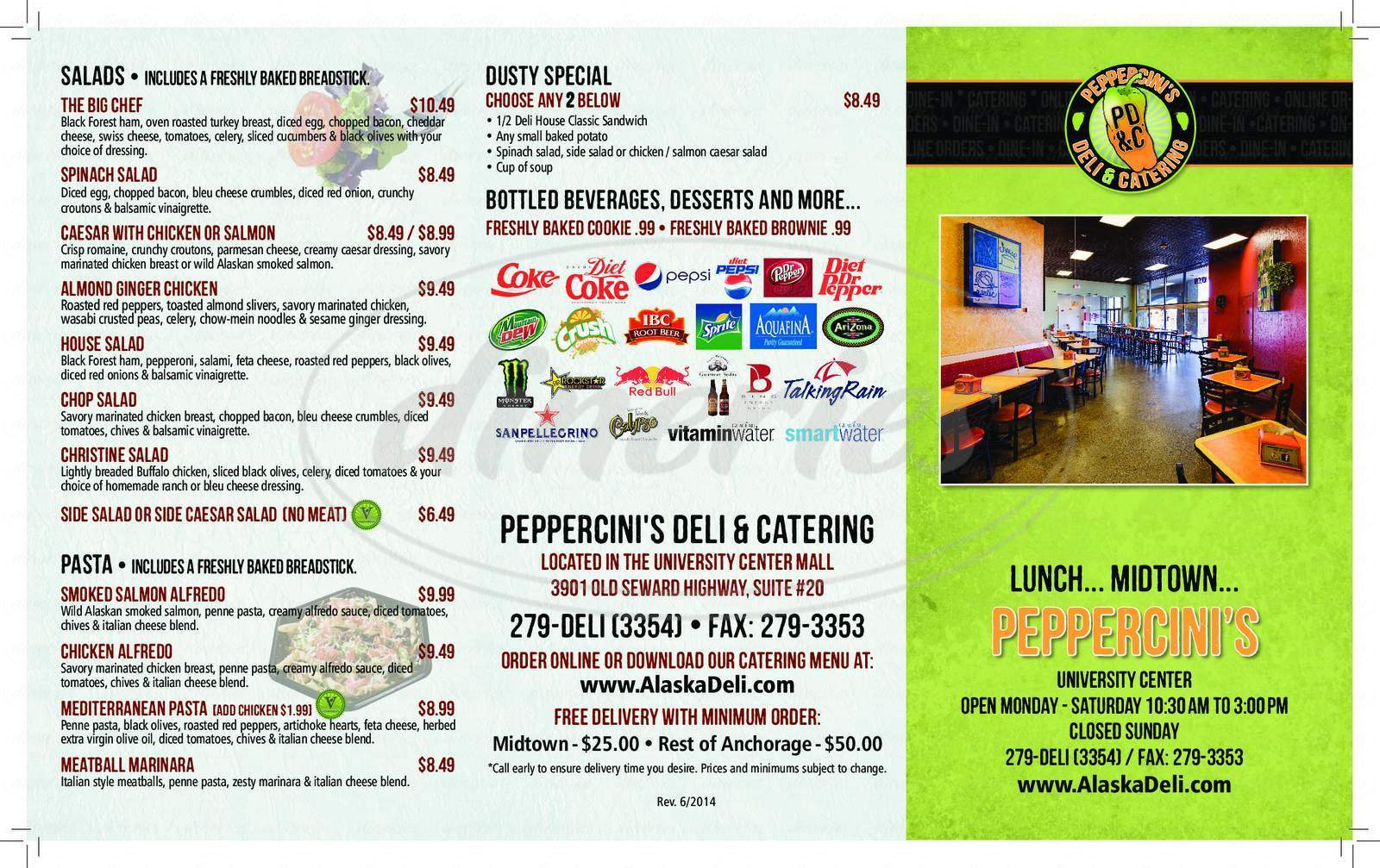 menu for Peppercini's Deli House
