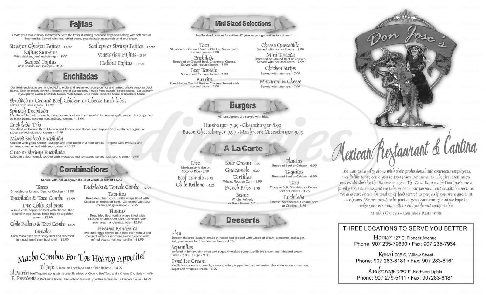 menu for Don Jose's