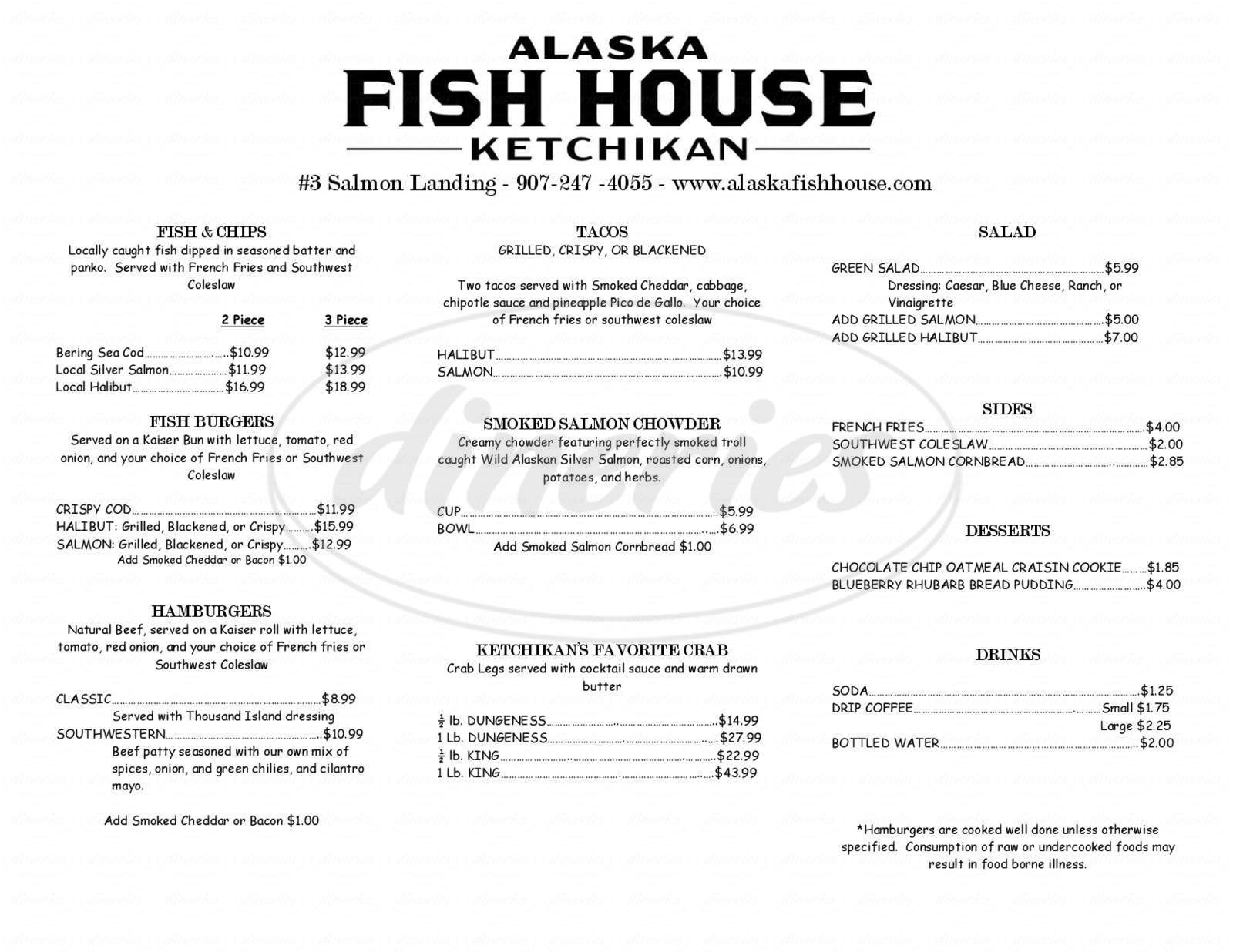 menu for Alaska Fish House