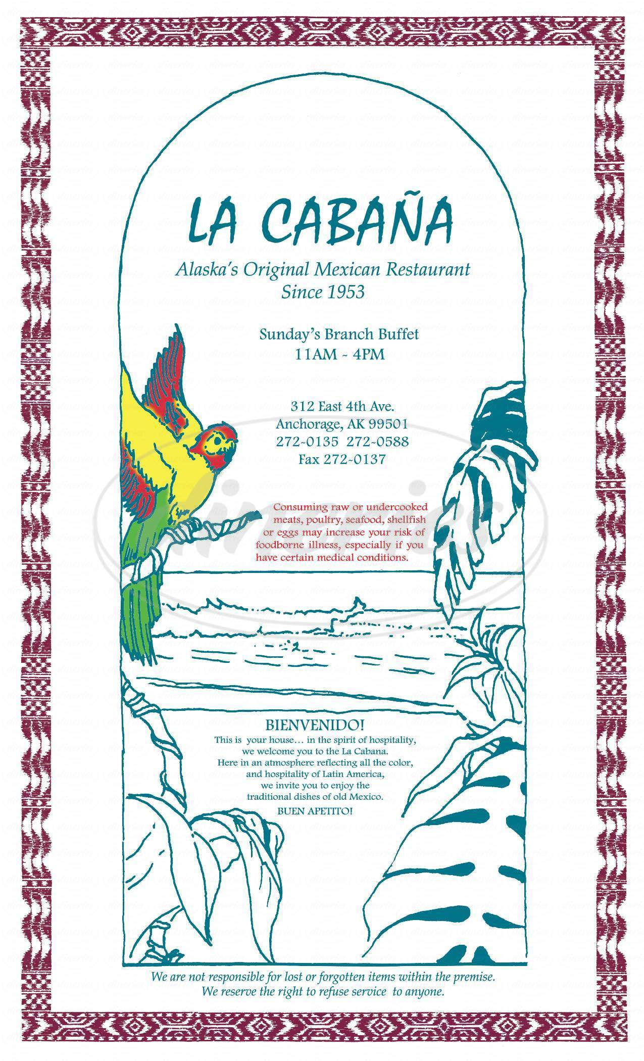 menu for La Cabana Mexican Restaurant