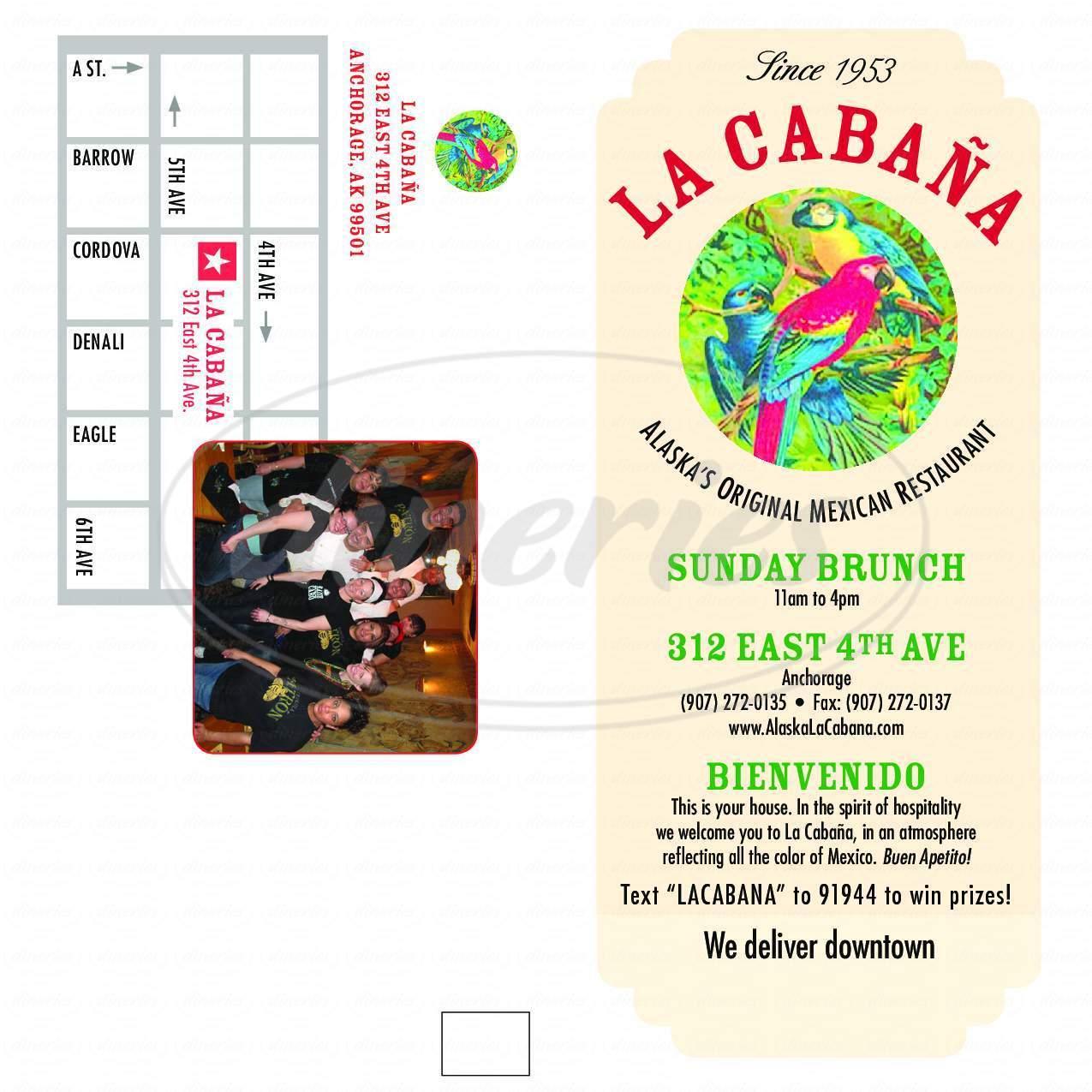 menu for La Cabana Mexican Restaurant