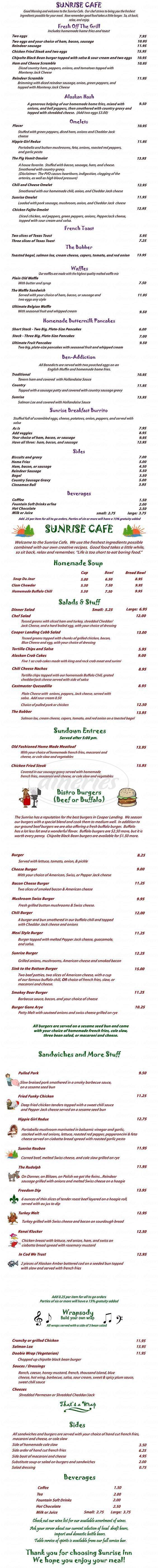 menu for Sunrise Inn