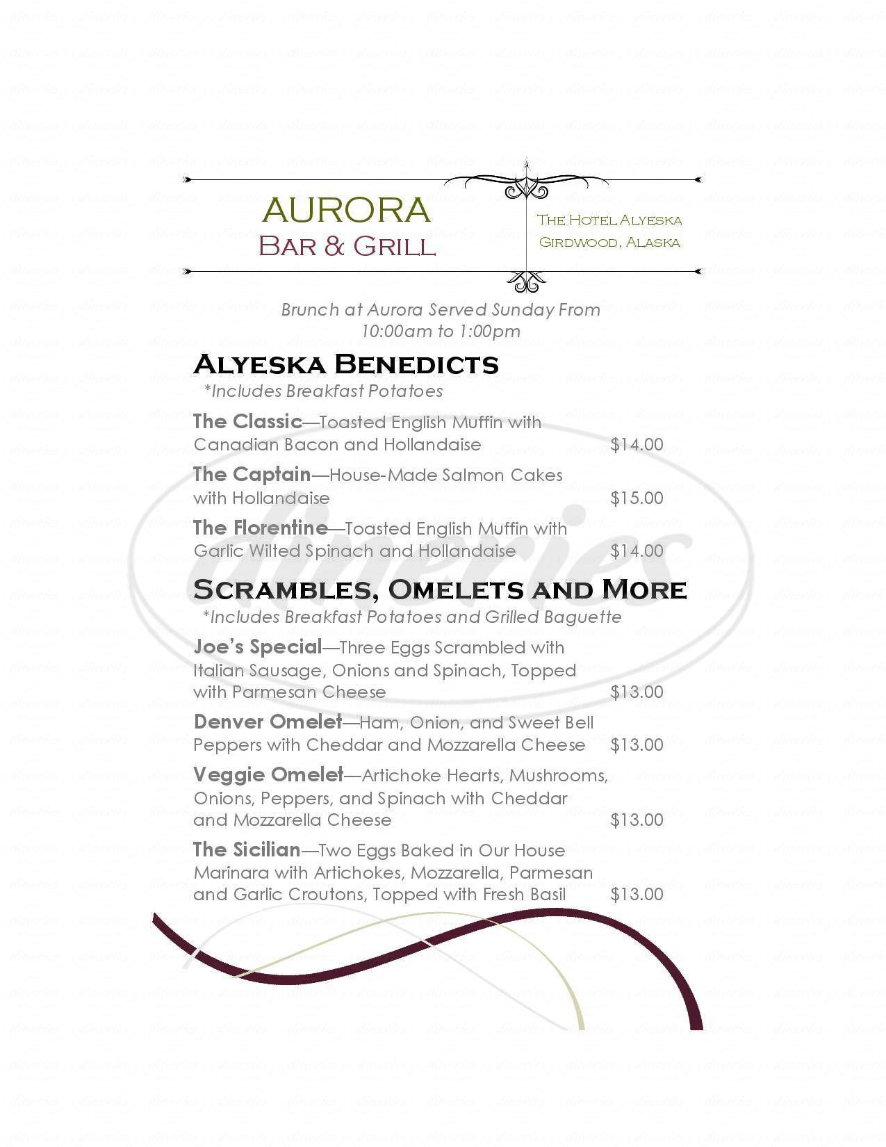 menu for Aurora Bar and Grill