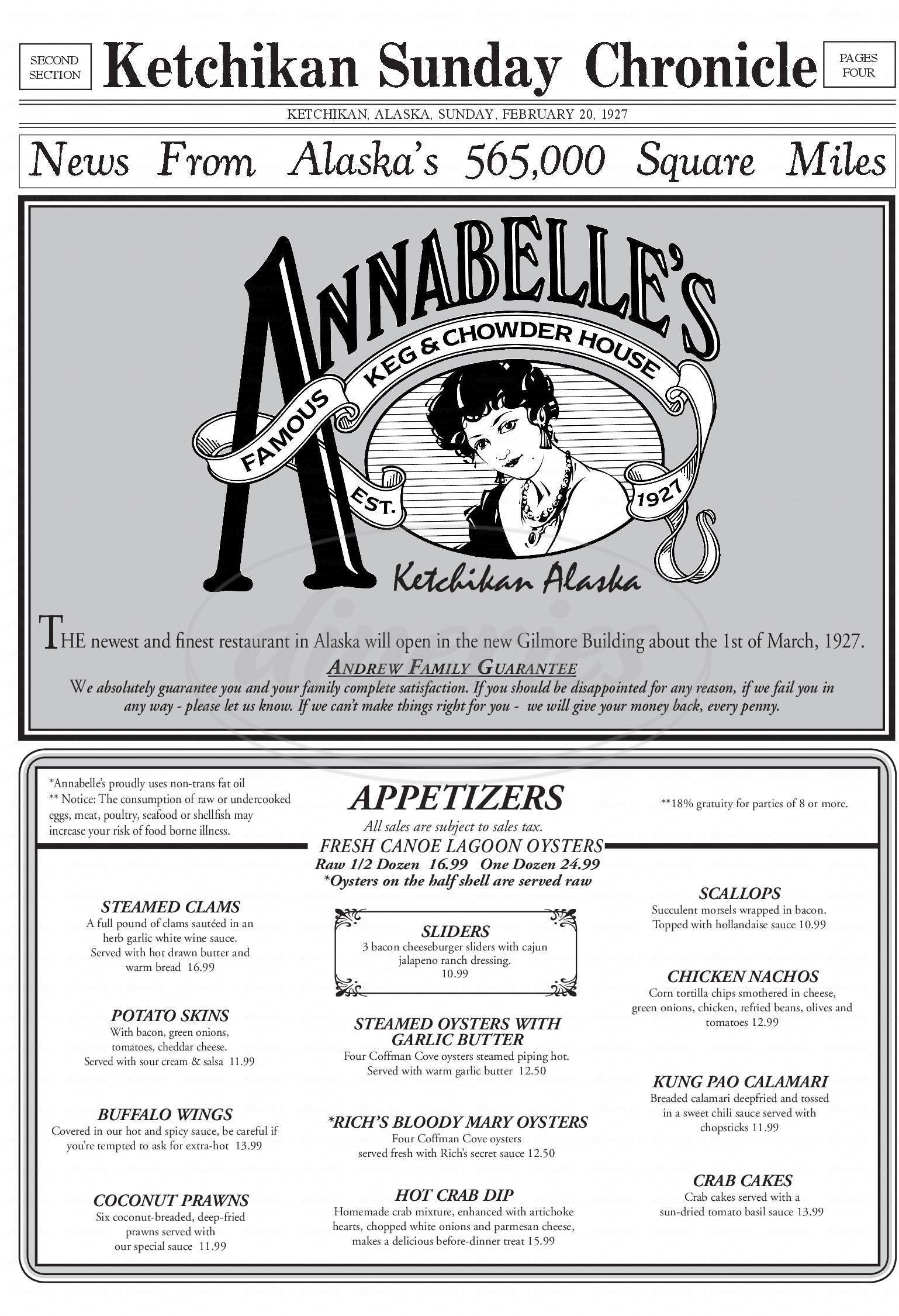 menu for Annabelle's Keg and Chowder House