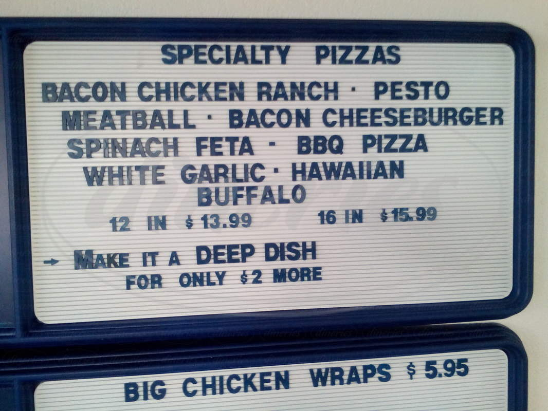menu for Birch Brother's Pizza Place