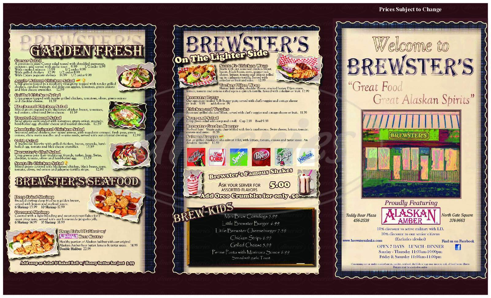 menu for Brewsters