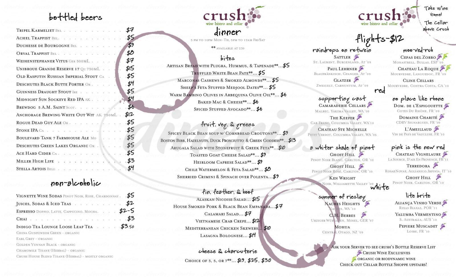 menu for Crush Wine Bistro & Cellar