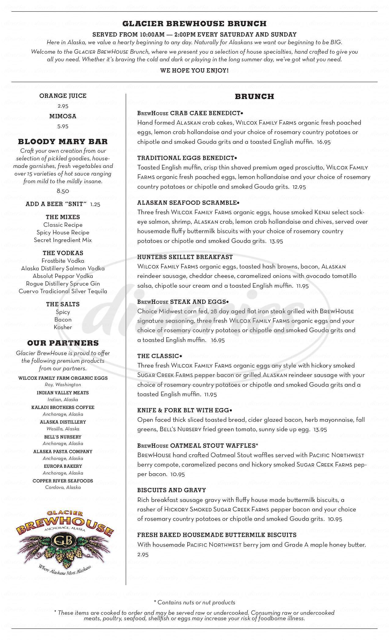 menu for Glacier Brewhouse