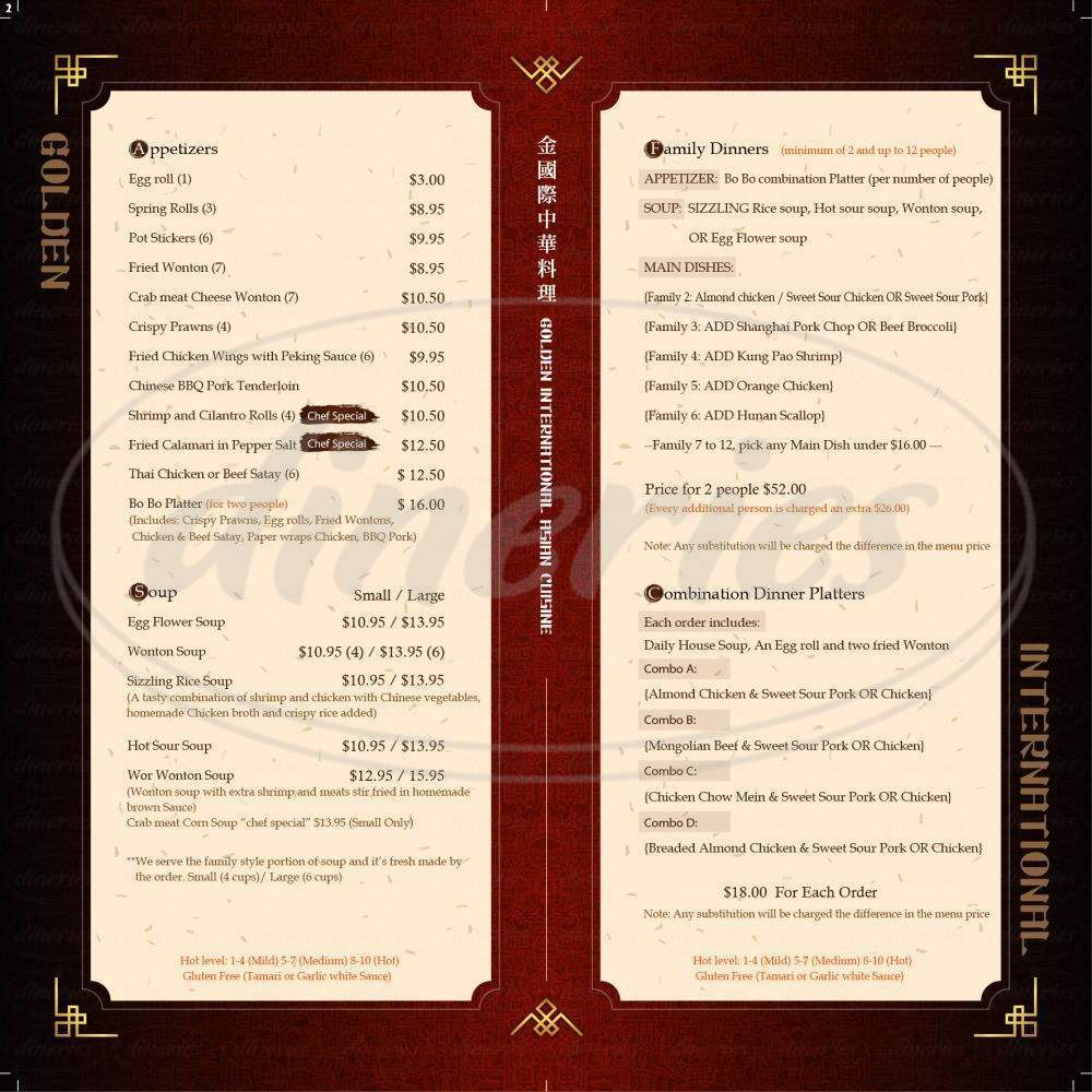 menu for Golden International Chinese