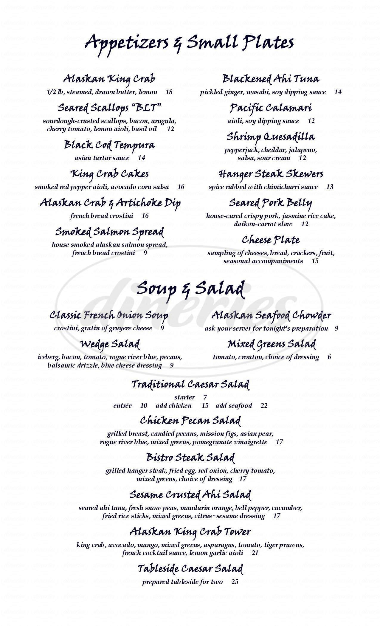 menu for Grand Aleutian