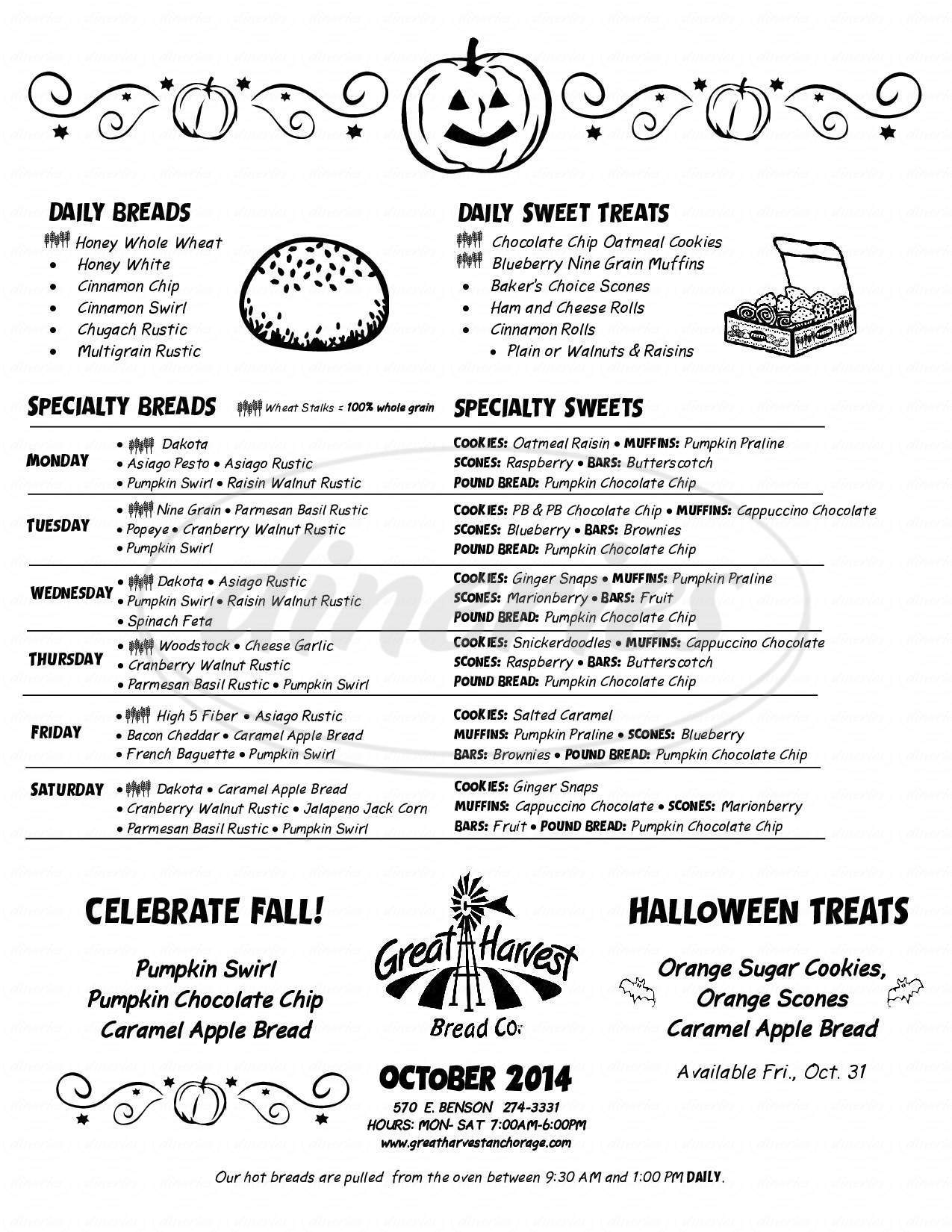 menu for Great Harvest Bread Co.