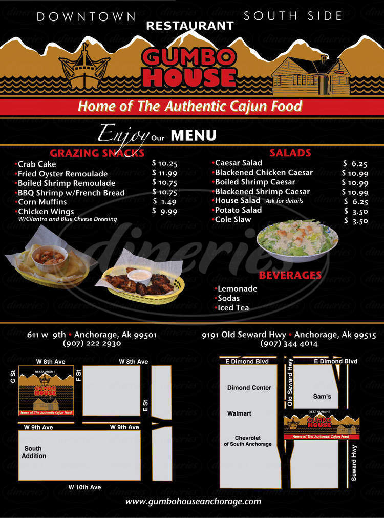 menu for Gumbo House